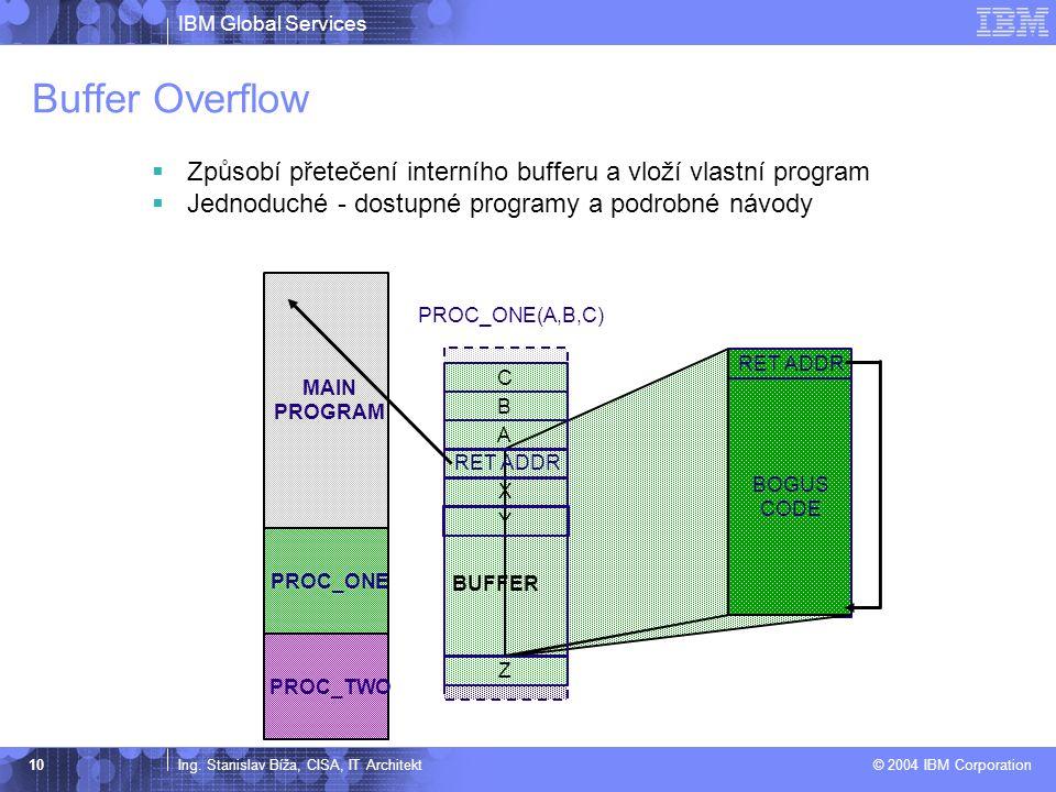 Buffer Overflow Způsobí přetečení interního bufferu a vloží vlastní program. Jednoduché - dostupné programy a podrobné návody.