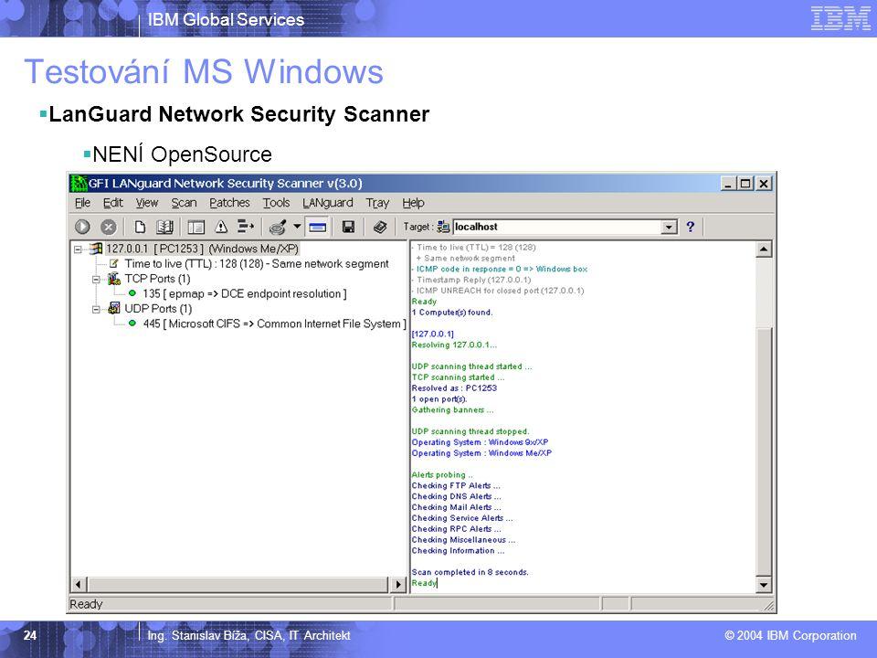 Testování MS Windows LanGuard Network Security Scanner NENÍ OpenSource