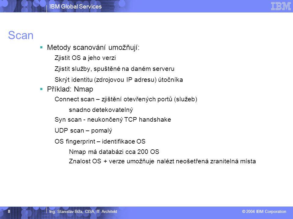 Scan Metody scanování umožňují: Příklad: Nmap Zjistit OS a jeho verzi