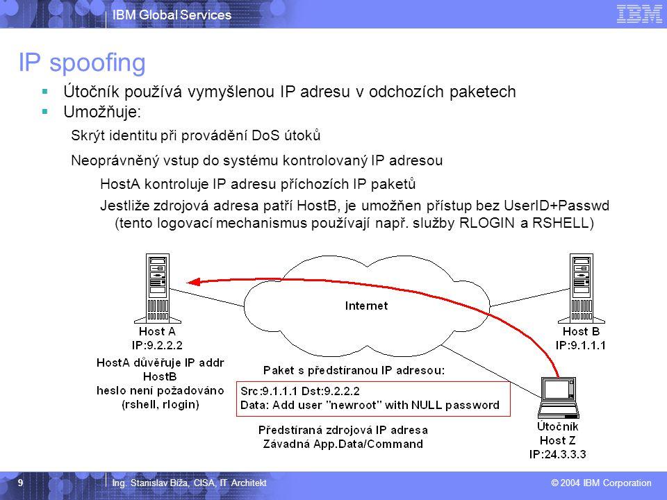 IP spoofing Útočník používá vymyšlenou IP adresu v odchozích paketech