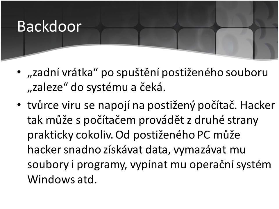 """Backdoor """"zadní vrátka po spuštění postiženého souboru """"zaleze do systému a čeká."""