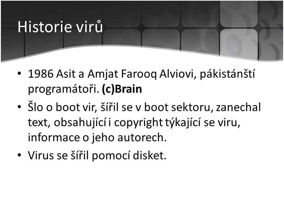 Historie virů 1986 Asit a Amjat Farooq Alviovi, pákistánští programátoři. (c)Brain.
