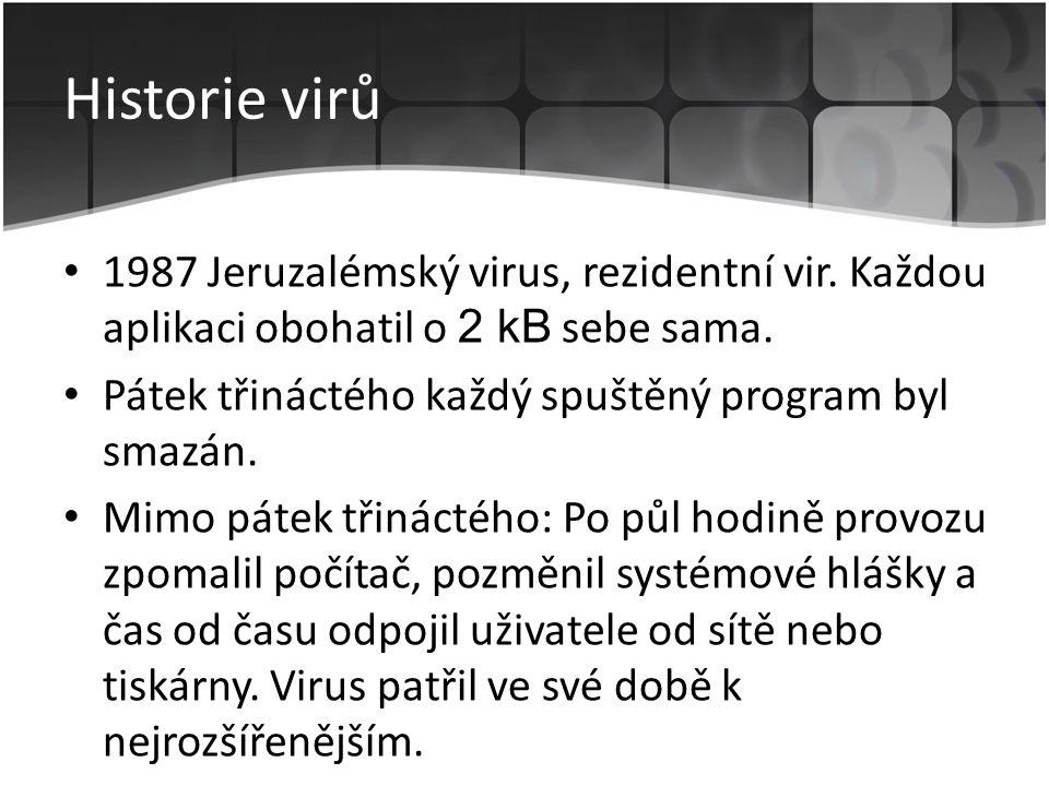 Historie virů 1987 Jeruzalémský virus, rezidentní vir. Každou aplikaci obohatil o 2 kB sebe sama.