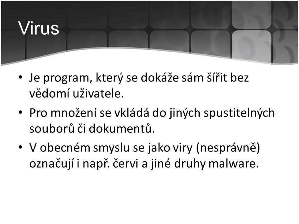 Virus Je program, který se dokáže sám šířit bez vědomí uživatele.
