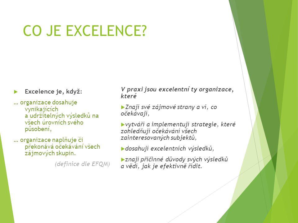 CO JE EXCELENCE V praxi jsou excelentní ty organizace, které