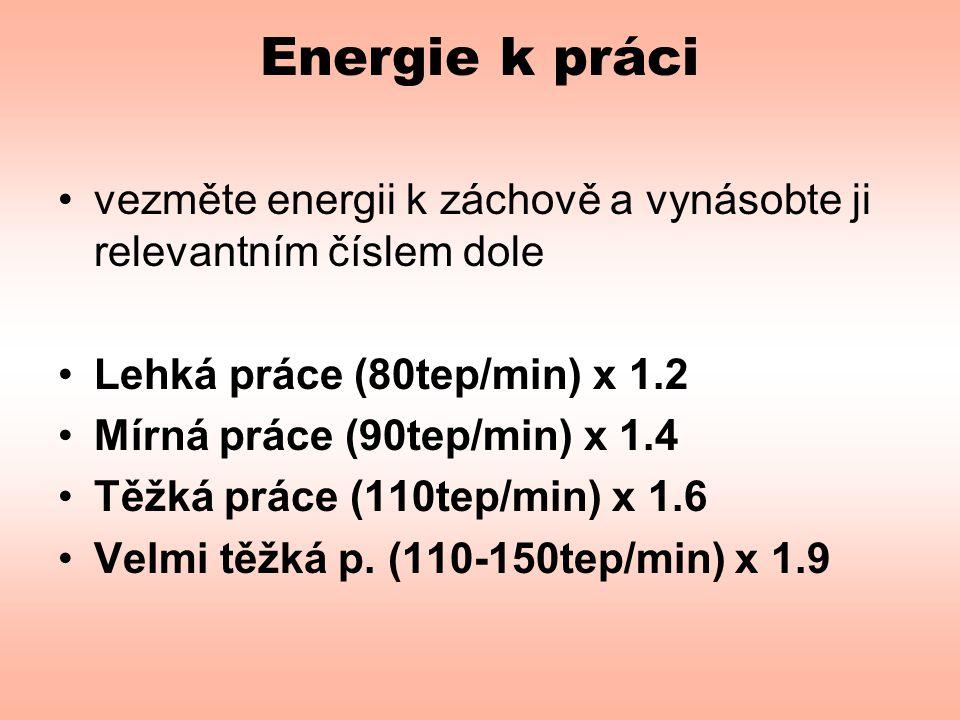 Energie k práci vezměte energii k záchově a vynásobte ji relevantním číslem dole. Lehká práce (80tep/min) x 1.2.