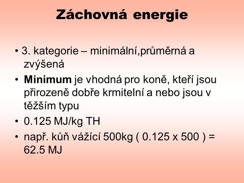 Záchovná energie • 3. kategorie – minimální,průměrná a zvýšená
