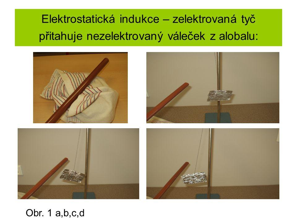 Elektrostatická indukce – zelektrovaná tyč přitahuje nezelektrovaný váleček z alobalu: