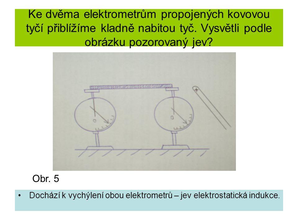 Ke dvěma elektrometrům propojených kovovou tyčí přiblížíme kladně nabitou tyč. Vysvětli podle obrázku pozorovaný jev