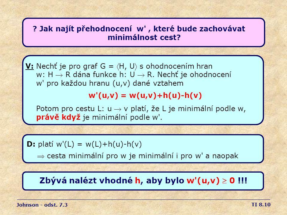 Zbývá nalézt vhodné h, aby bylo w (u,v)  0 !!!