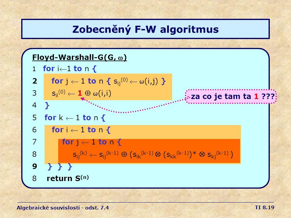 Zobecněný F-W algoritmus