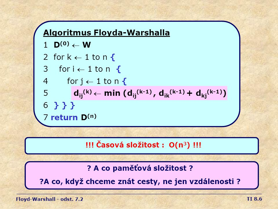 Algoritmus Floyda-Warshalla 1 D(0)  W 2 for k  1 to n {