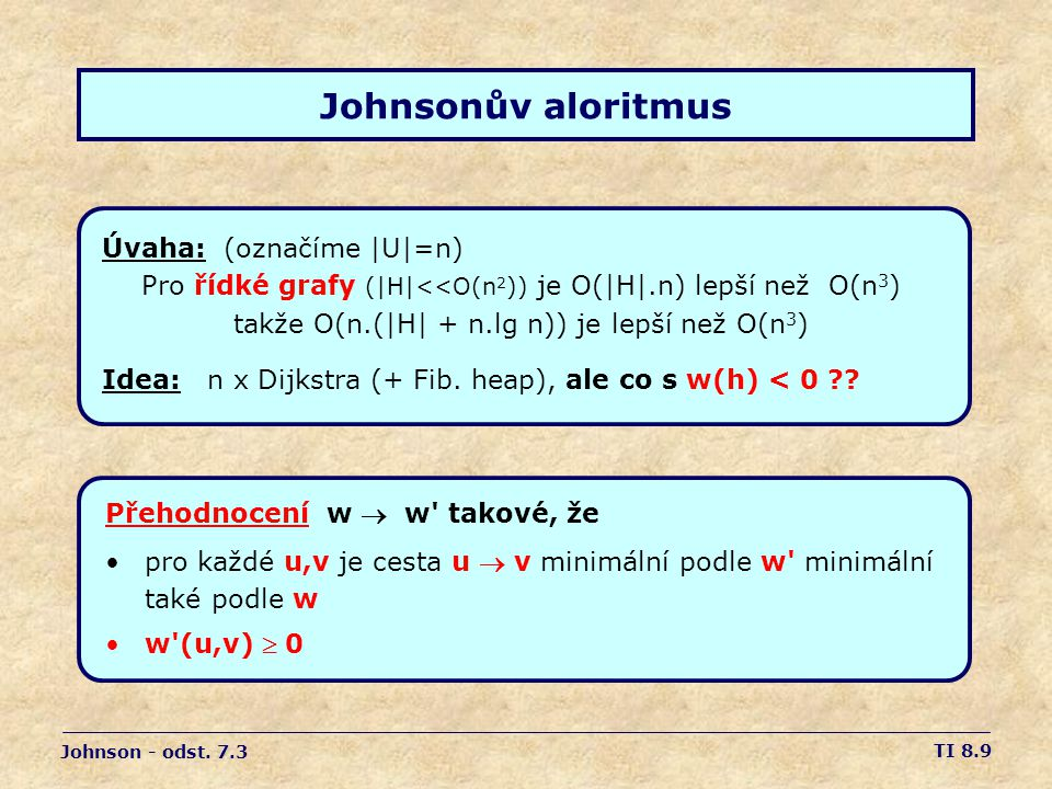 Johnsonův aloritmus Úvaha: (označíme |U|=n)