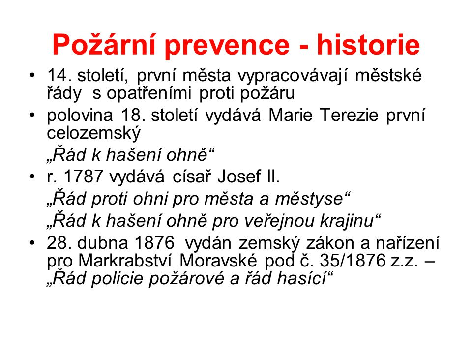 Požární prevence - historie
