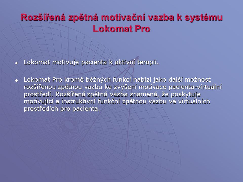 Rozšířená zpětná motivační vazba k systému Lokomat Pro