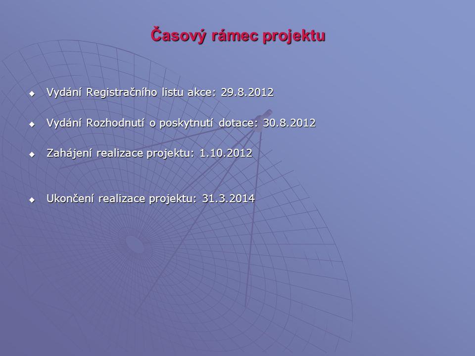 Časový rámec projektu Vydání Registračního listu akce: 29.8.2012
