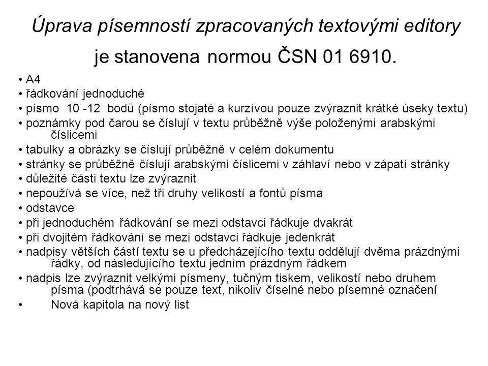Úprava písemností zpracovaných textovými editory je stanovena normou ČSN 01 6910.
