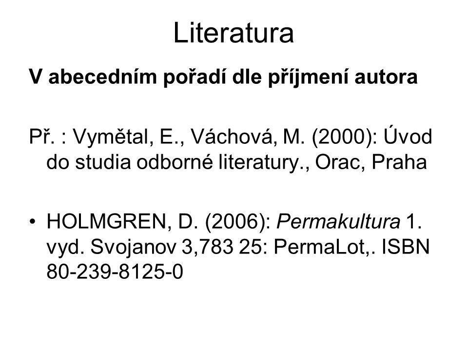 Literatura V abecedním pořadí dle příjmení autora