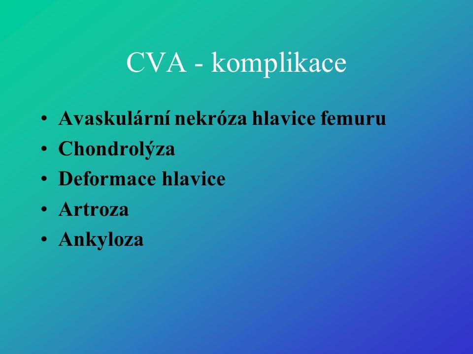 CVA - komplikace Avaskulární nekróza hlavice femuru Chondrolýza