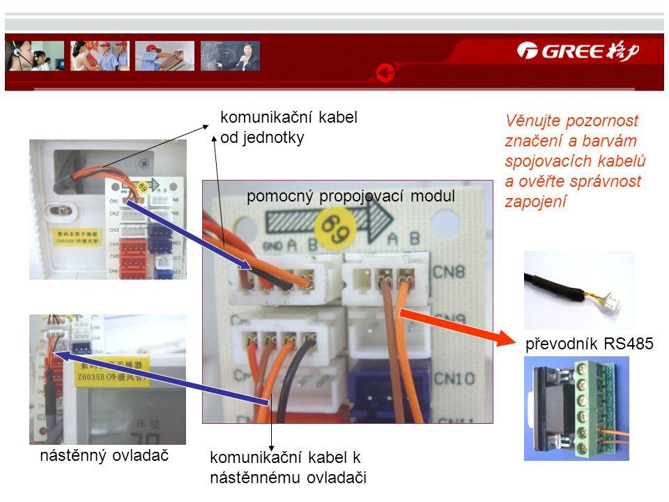 komunikační kabel od jednotky