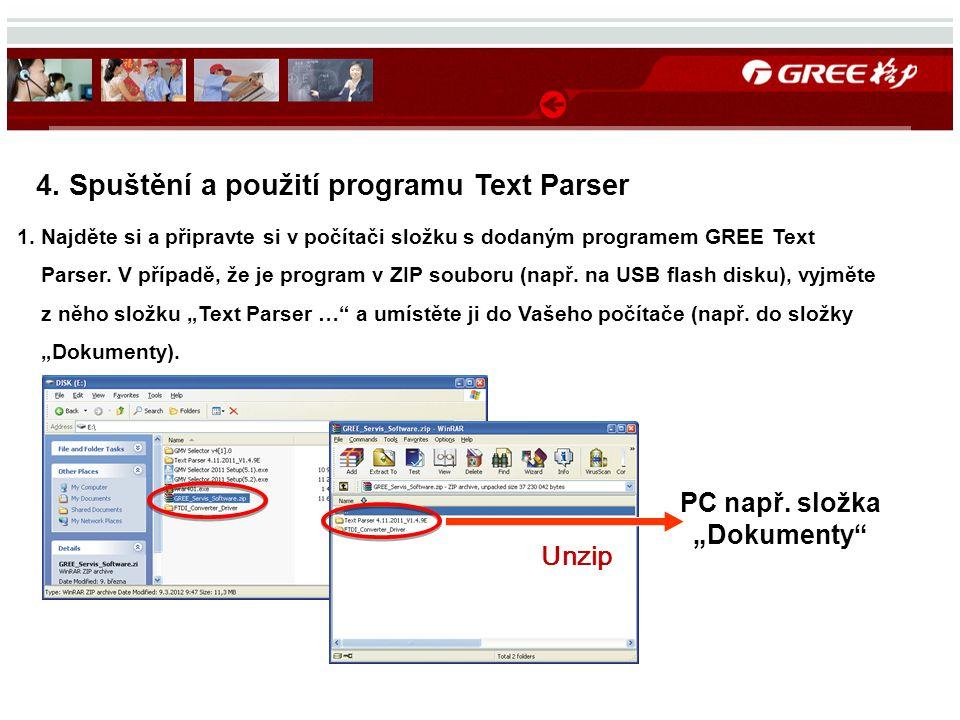 4. Spuštění a použití programu Text Parser