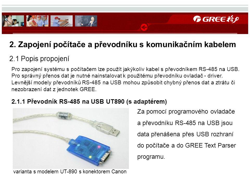 2. Zapojení počítače a převodníku s komunikačním kabelem