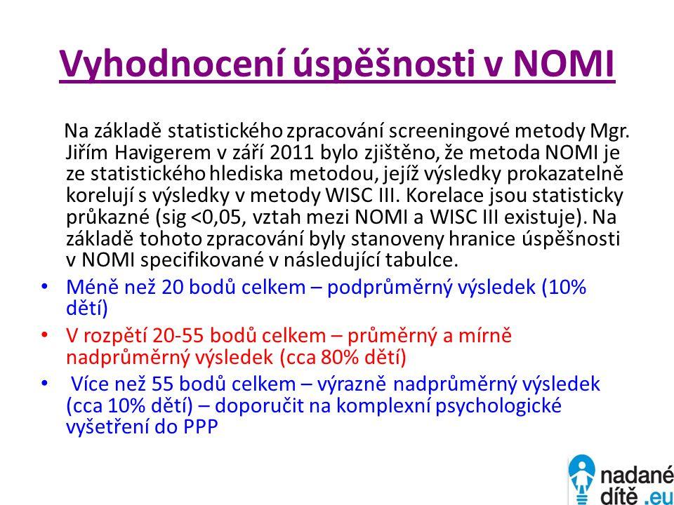 Vyhodnocení úspěšnosti v NOMI