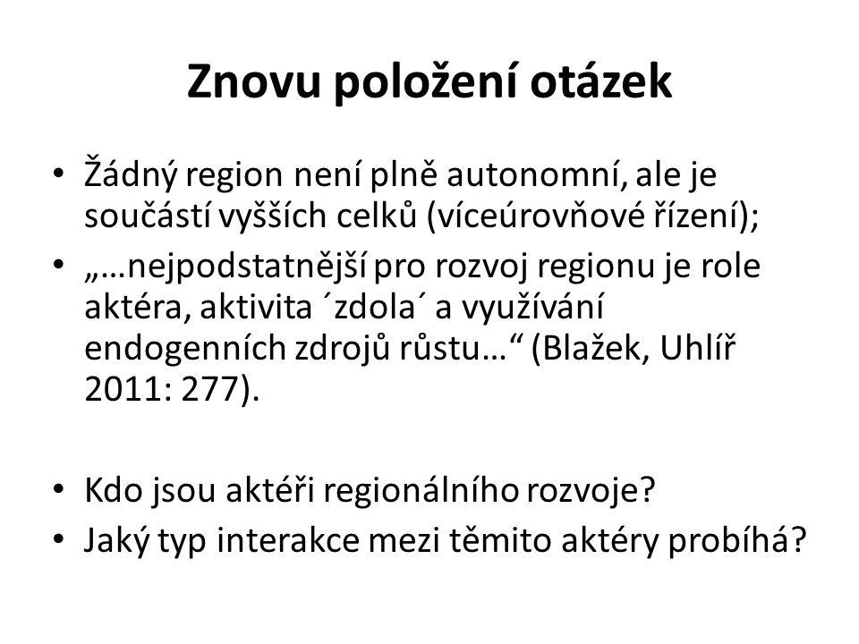 Znovu položení otázek Žádný region není plně autonomní, ale je součástí vyšších celků (víceúrovňové řízení);