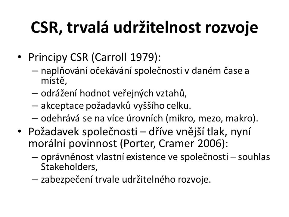 CSR, trvalá udržitelnost rozvoje