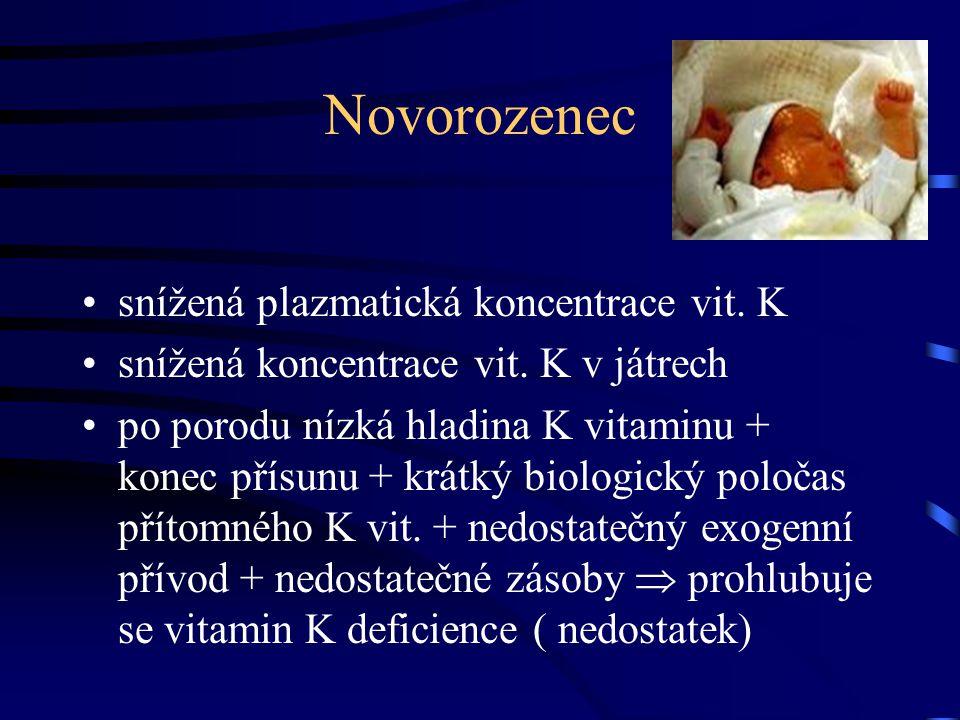 Novorozenec snížená plazmatická koncentrace vit. K