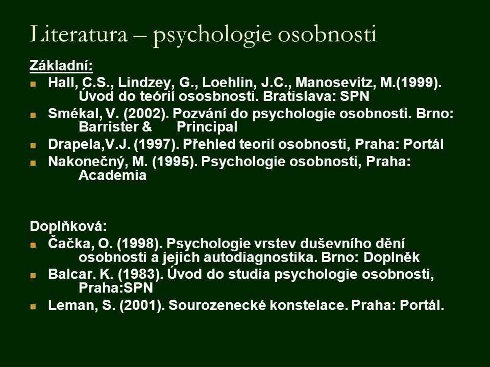Literatura – psychologie osobnosti