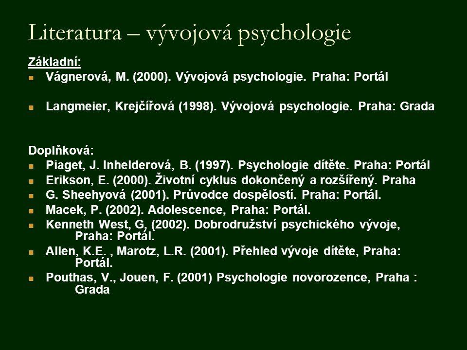 Literatura – vývojová psychologie