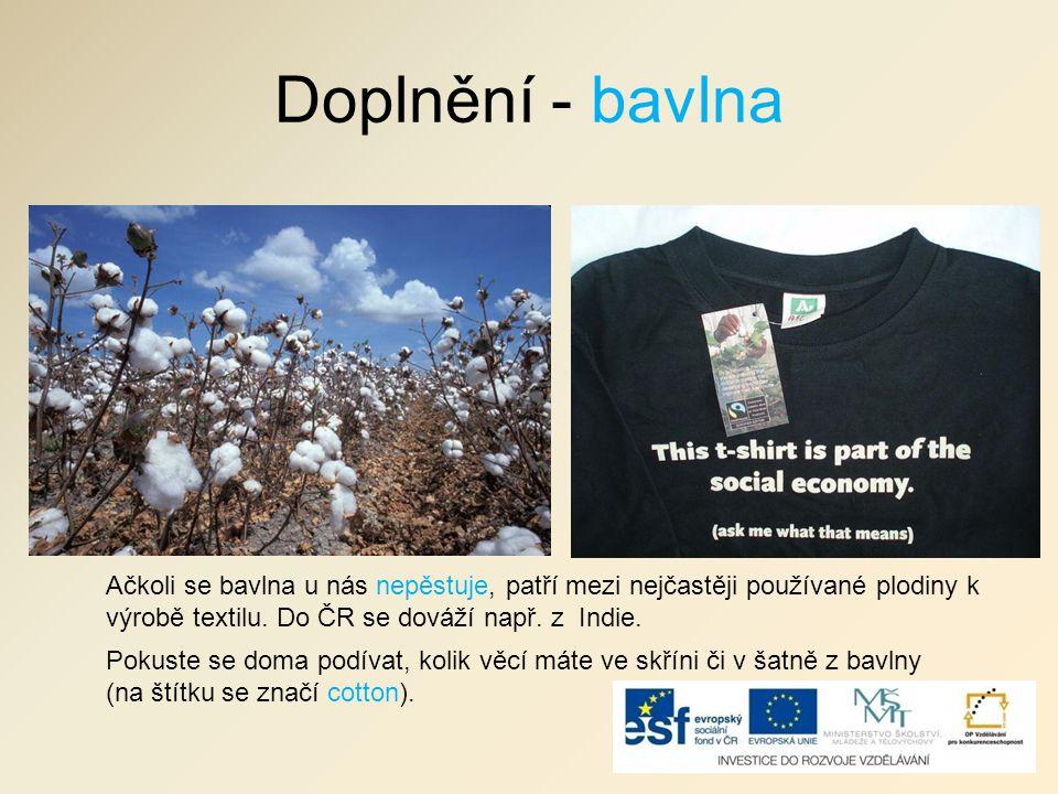 Doplnění - bavlna Ačkoli se bavlna u nás nepěstuje, patří mezi nejčastěji používané plodiny k výrobě textilu. Do ČR se dováží např. z Indie.