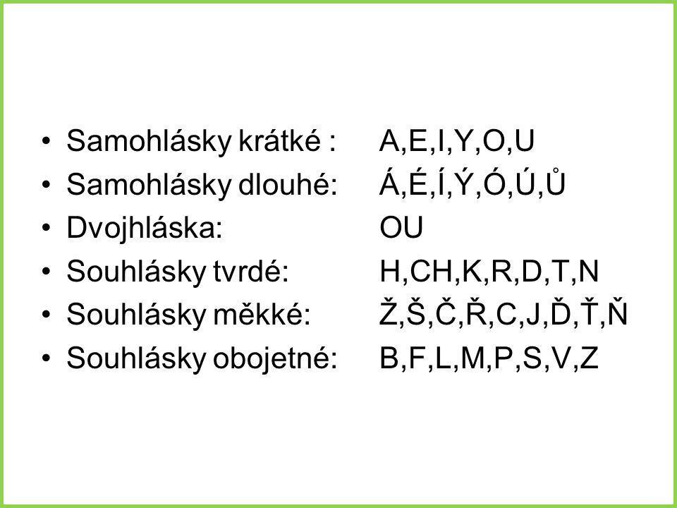 Samohlásky krátké : A,E,I,Y,O,U