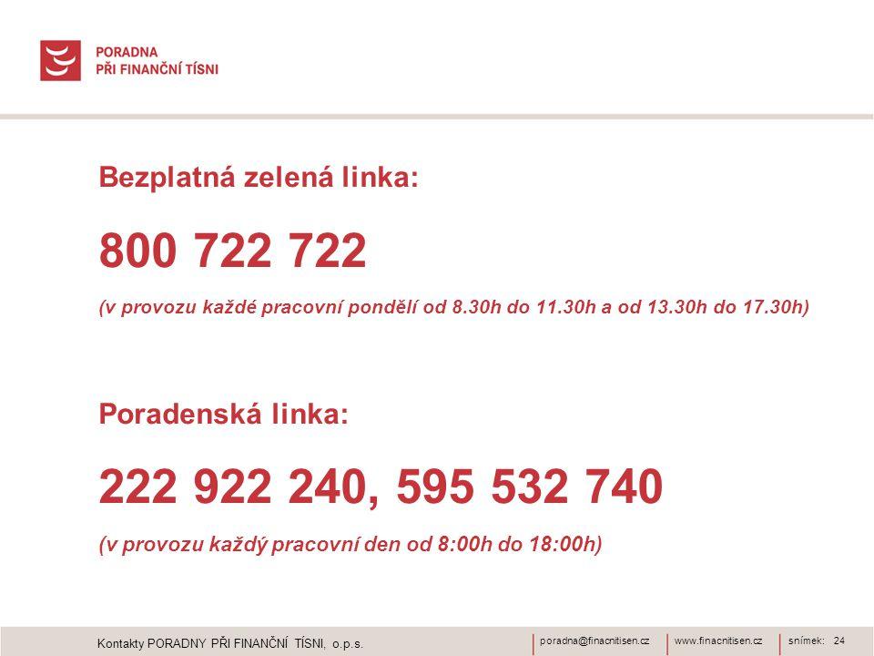 800 722 722 222 922 240, 595 532 740 Bezplatná zelená linka: