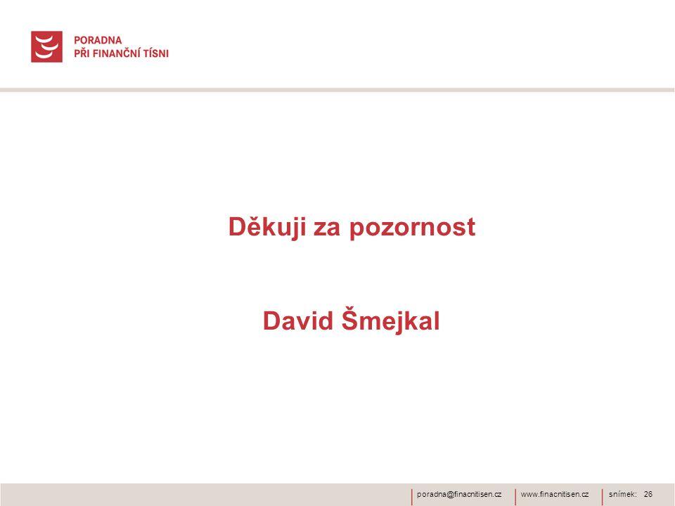 Děkuji za pozornost David Šmejkal