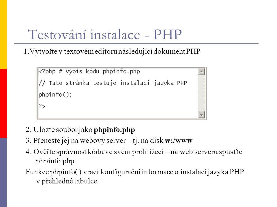 Testování instalace - PHP