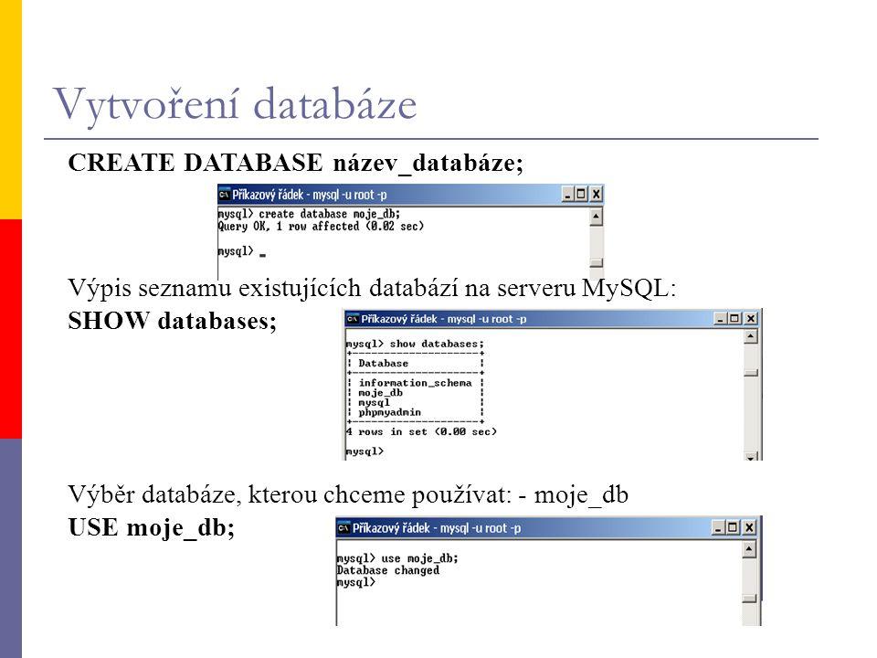 Vytvoření databáze CREATE DATABASE název_databáze;