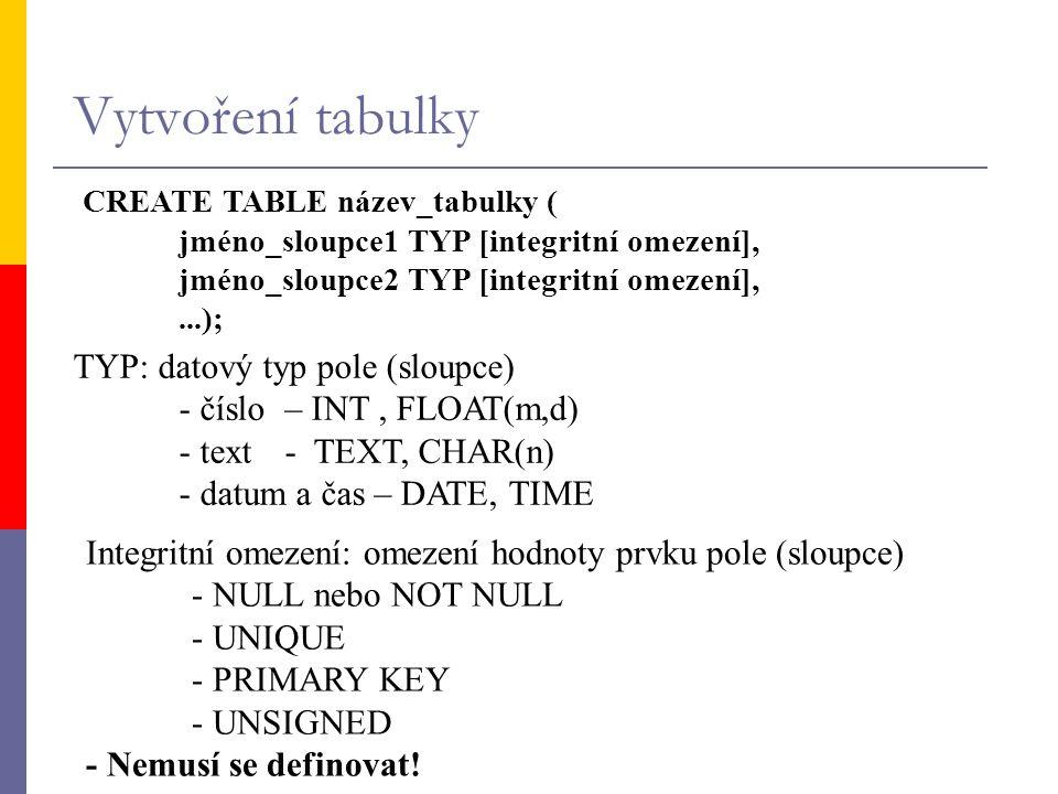 Vytvoření tabulky CREATE TABLE název_tabulky (