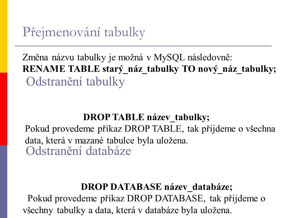 Přejmenování tabulky Odstranění tabulky Odstranění databáze
