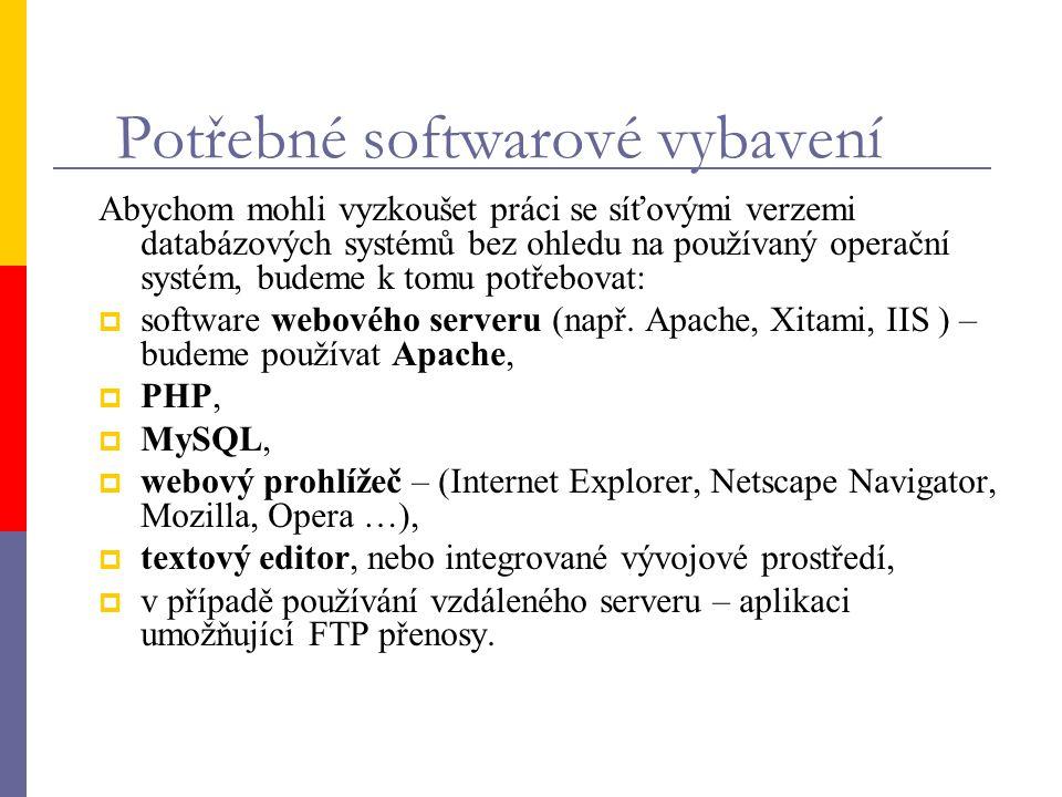 Potřebné softwarové vybavení