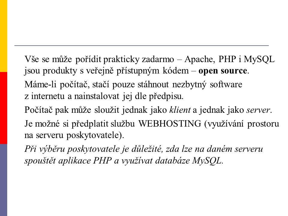 Vše se může pořídit prakticky zadarmo – Apache, PHP i MySQL jsou produkty s veřejně přístupným kódem – open source.