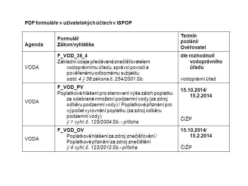 PDF formuláře v uživatelských účtech v ISPOP