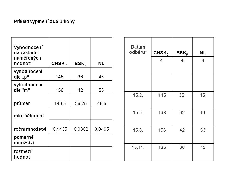 Příklad vyplnění XLS přílohy