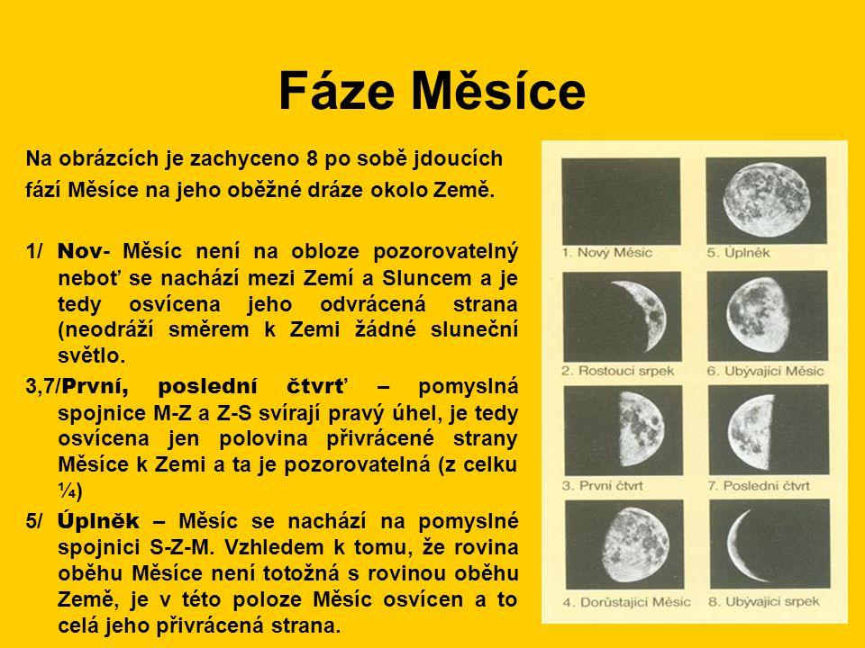 Fáze Měsíce Na obrázcích je zachyceno 8 po sobě jdoucích