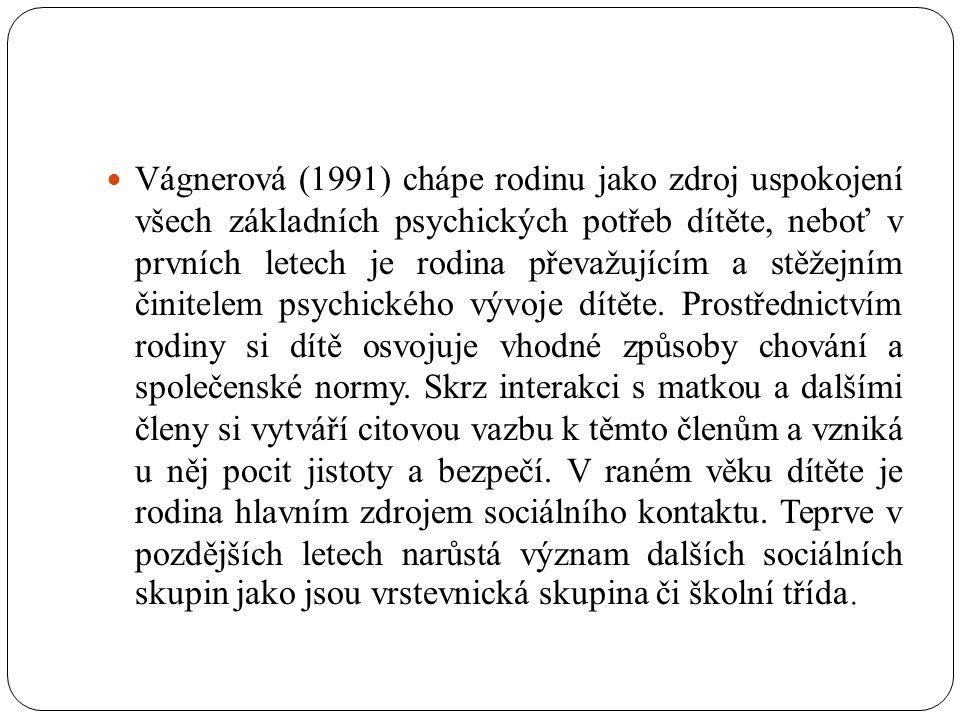 Vágnerová (1991) chápe rodinu jako zdroj uspokojení všech základních psychických potřeb dítěte, neboť v prvních letech je rodina převažujícím a stěžejním činitelem psychického vývoje dítěte.