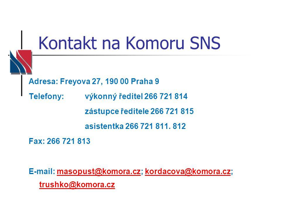 Kontakt na Komoru SNS Adresa: Freyova 27, 190 00 Praha 9