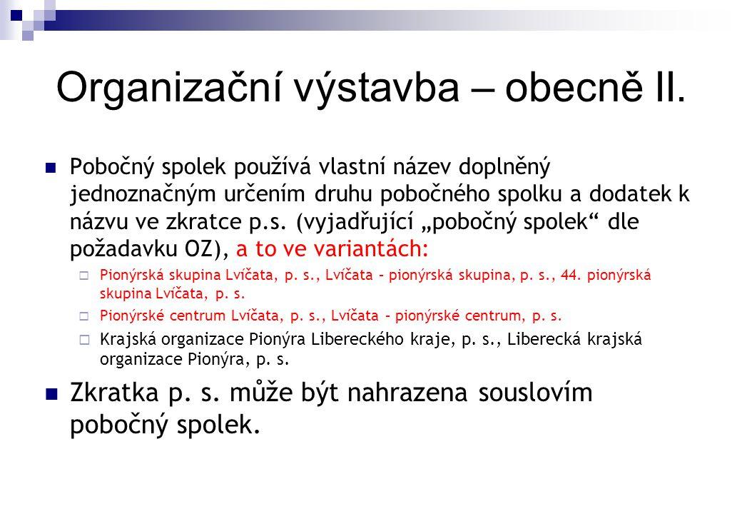Organizační výstavba – obecně II.