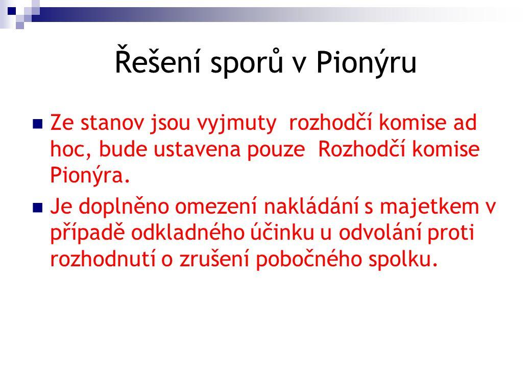 Řešení sporů v Pionýru Ze stanov jsou vyjmuty rozhodčí komise ad hoc, bude ustavena pouze Rozhodčí komise Pionýra.