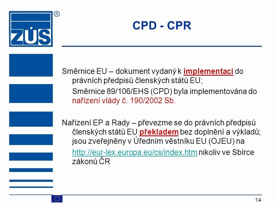 CPD - CPR Směrnice EU – dokument vydaný k implementaci do právních předpisů členských států EU;